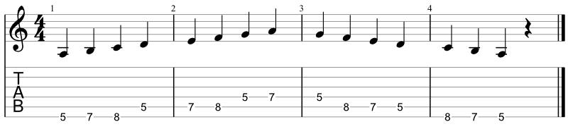A natural minor scale - Pattern #3 - one octave