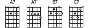 A7-A7-B7-C7 chords