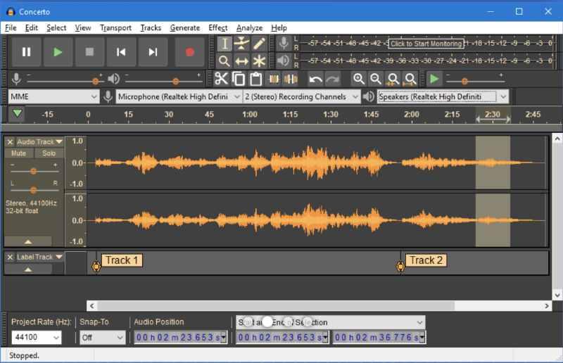 Audicity audio software