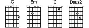 G - Em - C - D easy chords