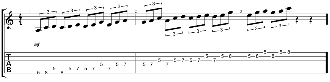 triplet pentatonic scale sequences