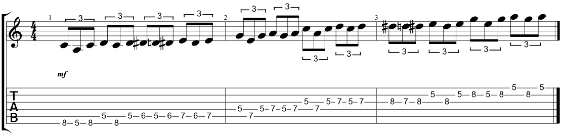 triplet blues scale sequences
