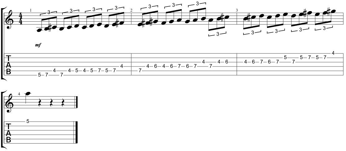 triplet major scale sequences
