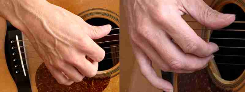 how and where to place the fingerpicking hand